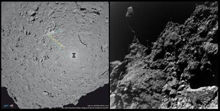 Карта перемещений (слева) и первая фотография, переданная ровером MASCOT с астероида Рюгю ©© MASCOT/DLR/JAXA