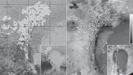 """Карта распределения каналов и """"стиральных досок"""" по Плутону © NASA / SwRI/JHUAPL"""