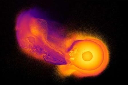 Кадр из компьютерной симуляции столкновения Урана с другим космическим телом © Jacob A. Kegerreis/Durham University