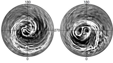 """Спиралеобразная структура в атмосфере Венеры, открытая зондом """"Акацуки"""" © Kashimura et al. / Nature Communications 2019"""