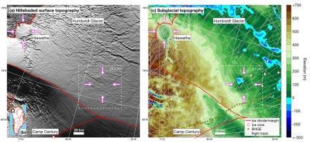 Снимок поверхности (слева) и топографическая модель подледникового ландшафта (справа). Левее — первый гренландский кратер, правее — второй © Joseph A. MacGregor et al. / Geophysical Research Letters