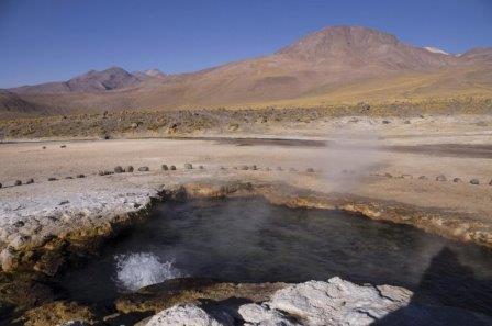 Бактерии собирали в этом горячем источнике в регионе Эль-Татио на севере Чили© Yaroslav Ispolatov