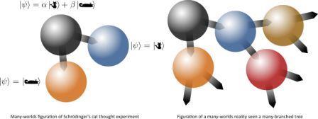 Образование множественных миров, исходя из мысленного эксперимента «кот Шредингера» (слева); формирование многомировой реальности (справа) © Quantum Bits