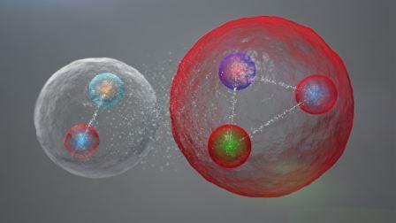 Так может выглядеть пентакварк в случае мезонно-молекулярной упаковки© CERN / LHCb Collaboration
