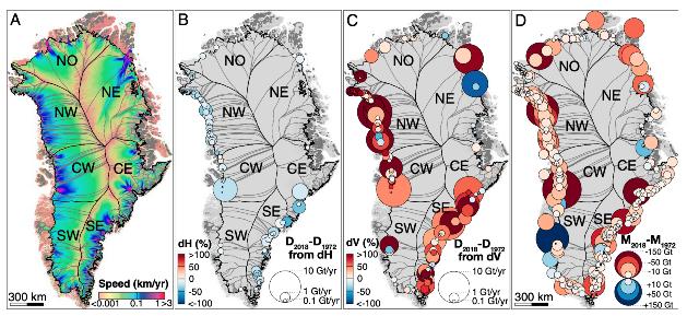 Баланс толщины, скорости движения ледников и потери их массы© Rignot et al.