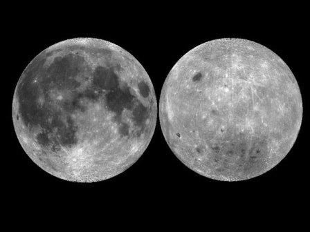 Обращенная к Земле (слева) и противоположная стороны Луны© NASA