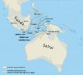 Ученые считают, что наиболее вероятным маршрутом заселения Сахула был северный — через показанные на карте острова Буру и Серам© Wikimedia Commons