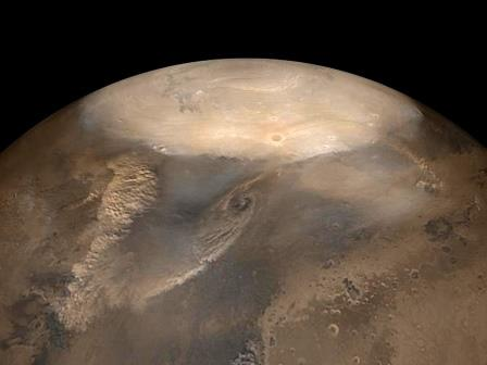 Пыльные бури на Марсе могут вести себя подобно сухим циклонам© NASA/JPL/Malin Space Science Systems photo