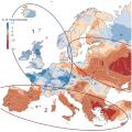 Региональные различия в трендах изменения максимальных расходов воды 1960—2010 гг. Синий цвет — увеличение максимальных расходов воды, красный — уменьшение (% за десятилетие).© Günter Blöschl et al. / Nature
