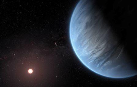 Звезда K2-18 и планета K2-18b © EPA-EFE/ESA/Hubble, M. Kornmesser