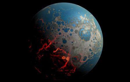 Железосодержащие соединения в магматических океанах ранней Земли (на рисунке), возможно, помогли создать планету, богатую кислородом и поддерживающую жизнь.© Simone Marchi, NASA