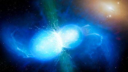 Так в представлении художника выглядит слияние двух небольших, но очень плотных нейтронных звезд. В точке слияния они взрываются как килонова. © University of Warwick/Mark Garlick/ESO