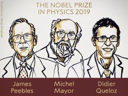 Джеймс Пиблз, Мишель Майор, Дидье Келоз © Niklas Elmehed/Nobel Prize
