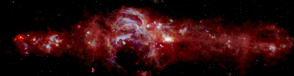 Составное инфракрасное изображение центра нашей галактики Млечный Путь, охватывающее более 600 световых лет © NASA/SOFIA/JPL-Caltech/ESA/Herschel