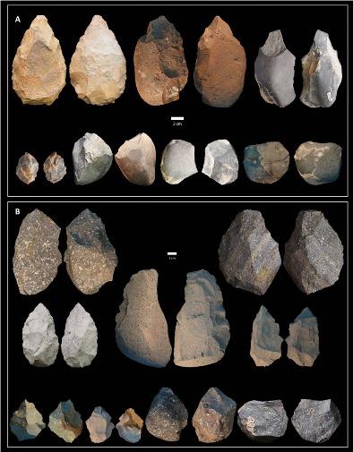 Обнаруженные ашельские (А), и олдувайские(В) орудия труда © Michael J. Rogers, Southern Connecticut State University