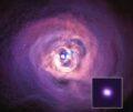 Рентгеновское изображение скопления Персея, полученное рентгеновской обсерваторией Чандра. Вставка - сверхмассивная черная дыра в ее центре © NASA/CXC/Cambridge Univ./C.S. Reynolds