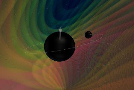 Визуализация столкновения двух разных по размеру черных дыр © N. Fischer, H. Pfeiffer, et al.