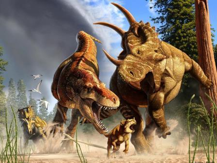 Тираннозавр Daspletosaurus охотится на молодых Spinops, в то время как взрослый спинопс пытается вмешаться, а Coronosaurus наблюдает на расстоянии © Julius Csotonyi