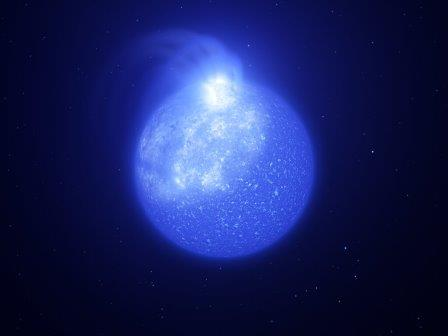 Звезда с гигантским магнитным пятном: рисунок художника © ESO/L. Calçada, INAF-Padua/S. Zaggia