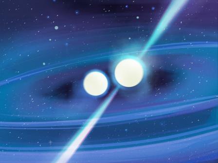 Недавно обнаруженный пульсар (известный как PSR J1913 + 1102) является частью двойной системы - это означает, что он заблокирован на очень жесткой орбите с другой нейтронной звездой © Courtesy of Arecibo Observatory/University of Central Florida - William Gonzalez and Andy Torres