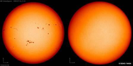 Солнечные пятна в максимуме активности в апреле 2014 года (слева) и в минимуме — в декабре 2019 года © SOHO/NASA