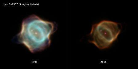 Туманность Скат. Два снимка, сделанные с разницей в 20 лет. Слева – в 1996 году, справа – в 2016-м. © NASA, ESA, B. Balick (University of Washington), M. Guerrero (Instituto de Astrofísica de Andalucía), and G. Ramos-Larios (Universidad de Guadalajara)