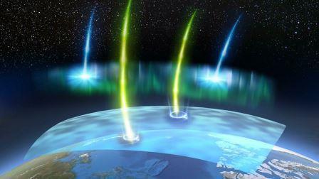 """Электроны с низкой (синие) и высокой (желтые) энергией образуются в процессе, который генерирует пульсирующее полярное сияние. """"Релятивистские"""" электроны высокой энергии вызывают локальное разрушение озонового слоя © PsA project"""