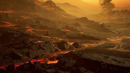 Художественное представление о поверхности экзопланеты Gliese 486b, где при температуре около 430 градусов Цельсия текут реки лавы © RenderArea