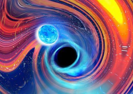 Художественное представление слияния черной дыры и нейтронной звезды © Carl Knox, OzGrav - Swinburne University