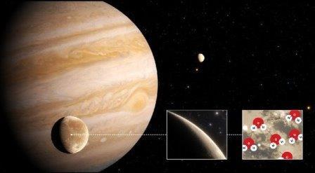 Телескоп «Хаббл» обнаружил водяной пар на Ганимеде © NASA/ESA/Hubble/J. daSilva.