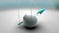Частицы с квантовым свойством, называемым спином, показанным синей стрелкой, не могут согласовать ориентацию в материале, называемом квантовым спиновым льдом © Ella Maru Studio/ScienceSource
