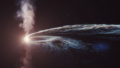 Художественная иллюстрация приливного разрушения AT2019dsg, когда сверхмассивная черная дыра спагетифицируется и поглощает звезду. Часть материала не поглощается черной дырой и выбрасывается обратно в космос. © DESY, Science Communication Lab